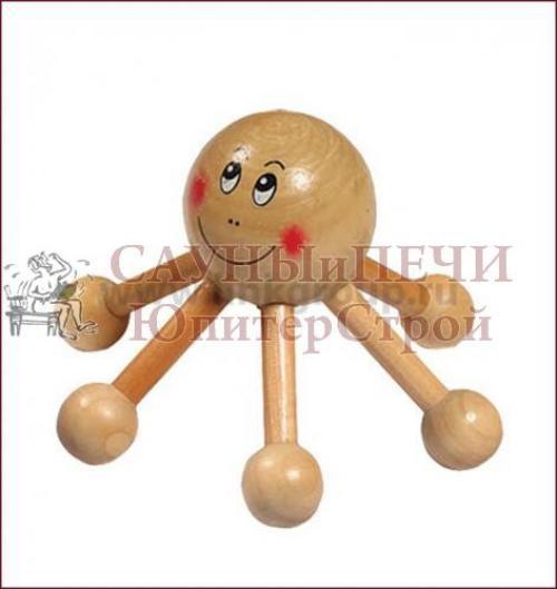 Массажер деревянный для тела Солнышко 12*12*8 см   уп20,  , 40114, Банные штучки