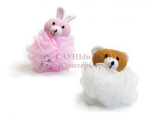 Мочалка для душа Бант с игрушкой (зайка, мишка) уп30,  , 40130, Банные штучки