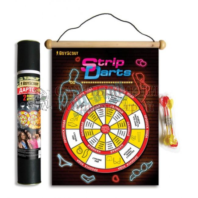 BOYSCOUT Стрип-дартс магнитный для вечеринок, в комплекте 6 дротиков, 2-х стороннее поле 46x38 см /12, 61477