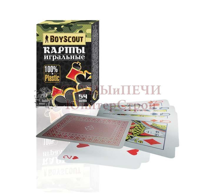 BOYSCOUT Карты игральные пластиковые, в колоде 54 шт. /144/48, 61452