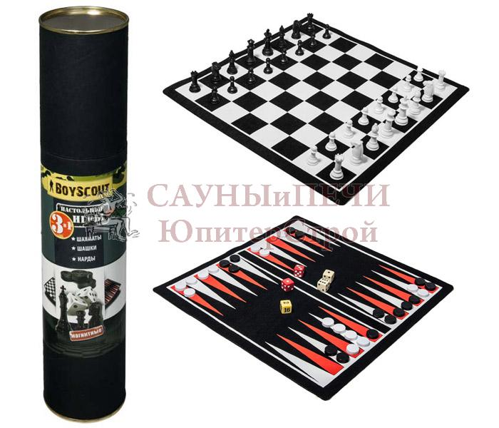 BOYSCOUT Шахматы, шашки, нарды на магнитах, набор 3 в одном /12, 61454