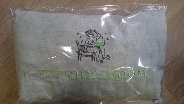 Подушка для бани с травами, с надписью 330х230