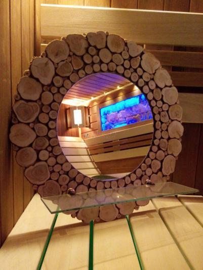 Зеркало круглое со стеклянной полочкой Д=50см, рамка можжевельник