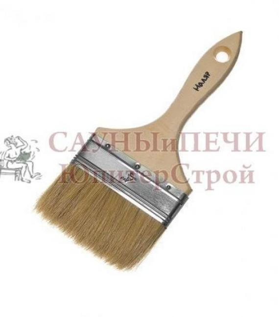 Кисть плоская 100 мм натуральная щетина деревянная ручка