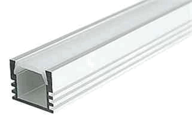 Комплект накладной алюминиевый профиль с экраном, 16 x 12 x 2000 мм