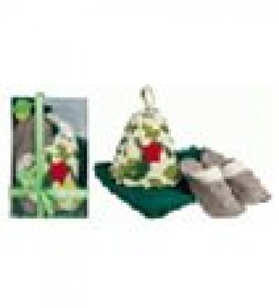Подарочный набор 3 предмета в цветной картонной коробке (накидка дбани и сауны муж., шапка Армейская, тапочки войлок)   уп3,  , 34203, Банные штучки