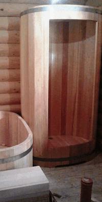 Душевая кабина, круглая, дуб, Д=0,9 м, H=2,2 м, толщина стенок 27 мм