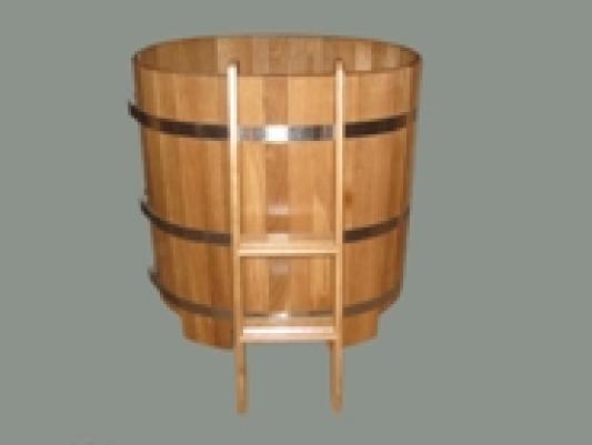 Купель круглая, дуб, Д=1,2м, Н=1,0м, толщина стенок: 45 мм