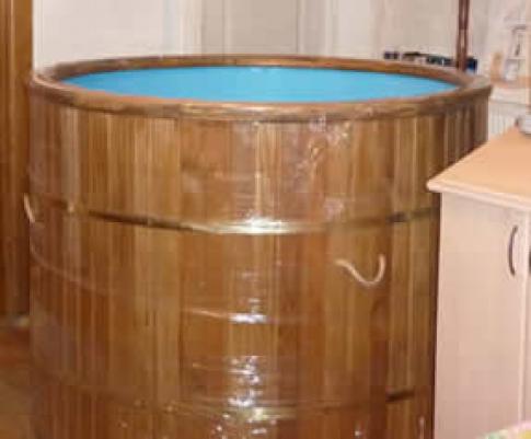 Купель круглая, двухместная со вставкой из полипропилена, 1,2х1,2х1,0м, материал - сосна