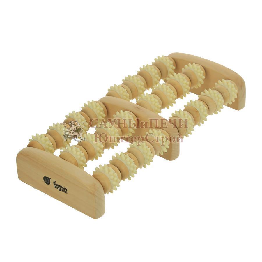 Массажер деревянный для ног, роликовый 20*16*5 см   уп5,  , 40051, Банные штучки
