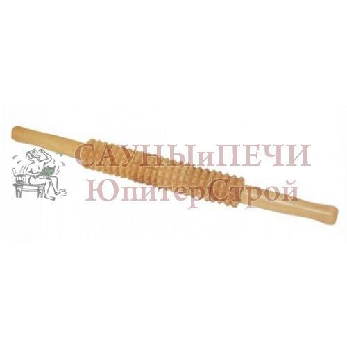 Массажер деревянный для тела Скалка 40*4см   уп 15,  , 40158, Банные штучки