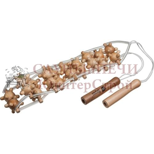 Массажер деревянный ленточный, игольчатый для спины 110*7*3 см   уп15,  , 40072, Банные штучки