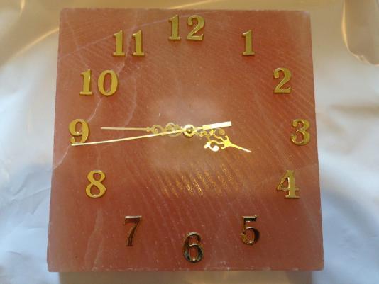 Квадратные настенные часы из гималайской соли, 20х20х3 см