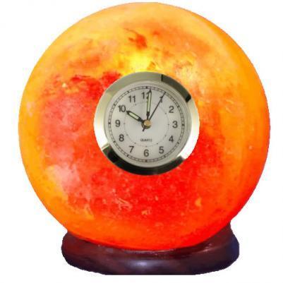 Часы - лампа Шар из гималайской соли, номер 7, 16х16х19 см, 3-4 кг