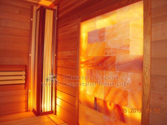 Панно из гималайской соли, подсветка белая светодиодная 60 св/м  до 100 град + п.у., 1225х50х200h рамка деревянная (абаш/липа/осина)