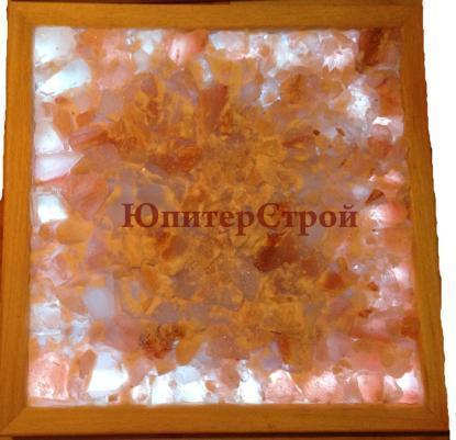 Панно из гималайской соли Кристалл, 400х1000 мм, с цветной подсветкой - светодиодная лента до 100 град + п.у., рамка деревянная (абаш/липа/осина)