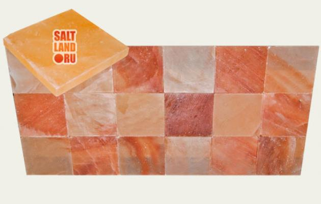 Плитка из гималайской розовой соли, 200х200х25мм, шлифованная со всех сторон