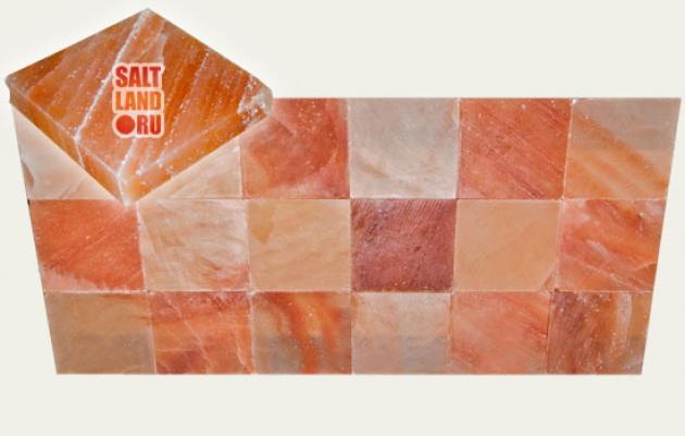 Плитка из гималайской розовой соли, 200х200х38мм, шлифованная со всех сторон, СЛ