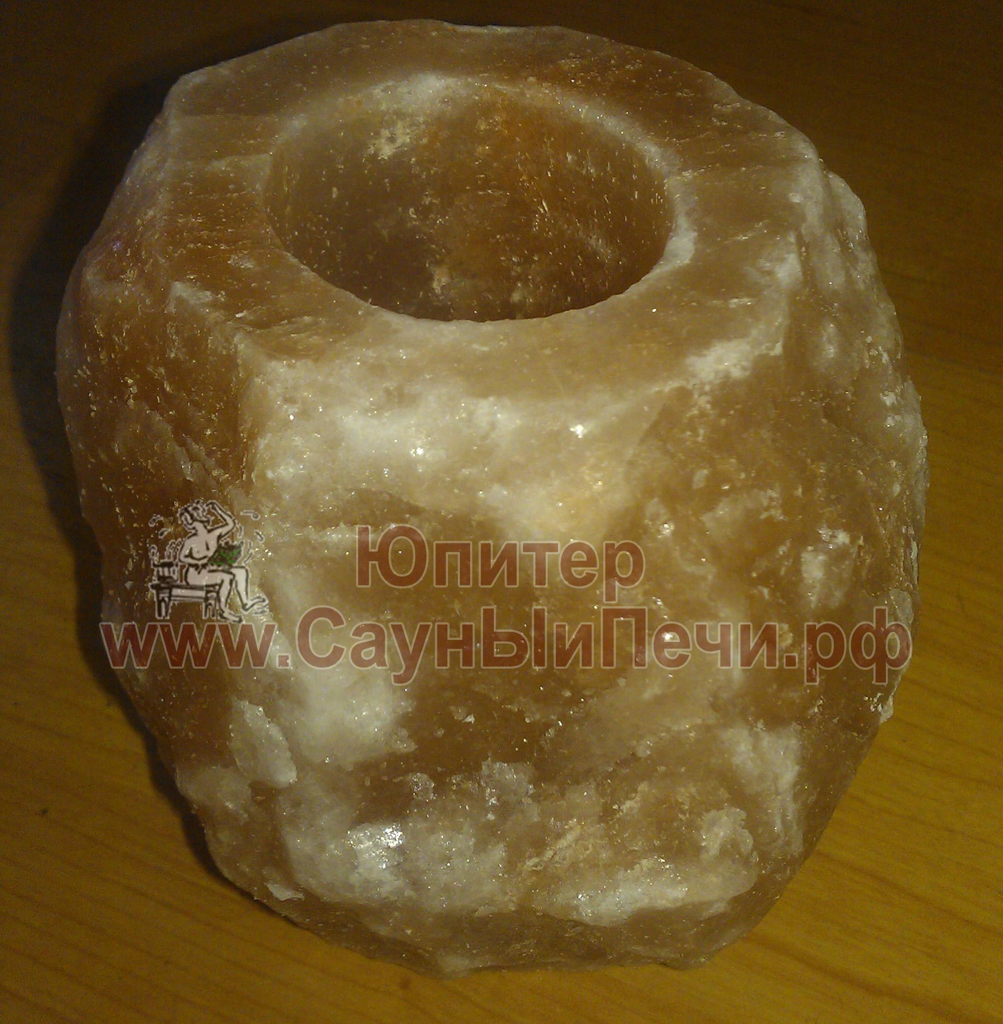 Подсвечник из гималайской соли Натуральный необработанный, СЛ