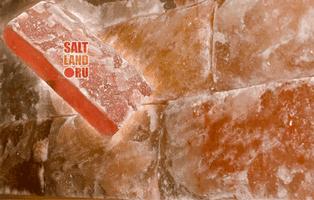 Кирпич из гималайской розовой соли, 200х100х50мм, одна сторона натуральная