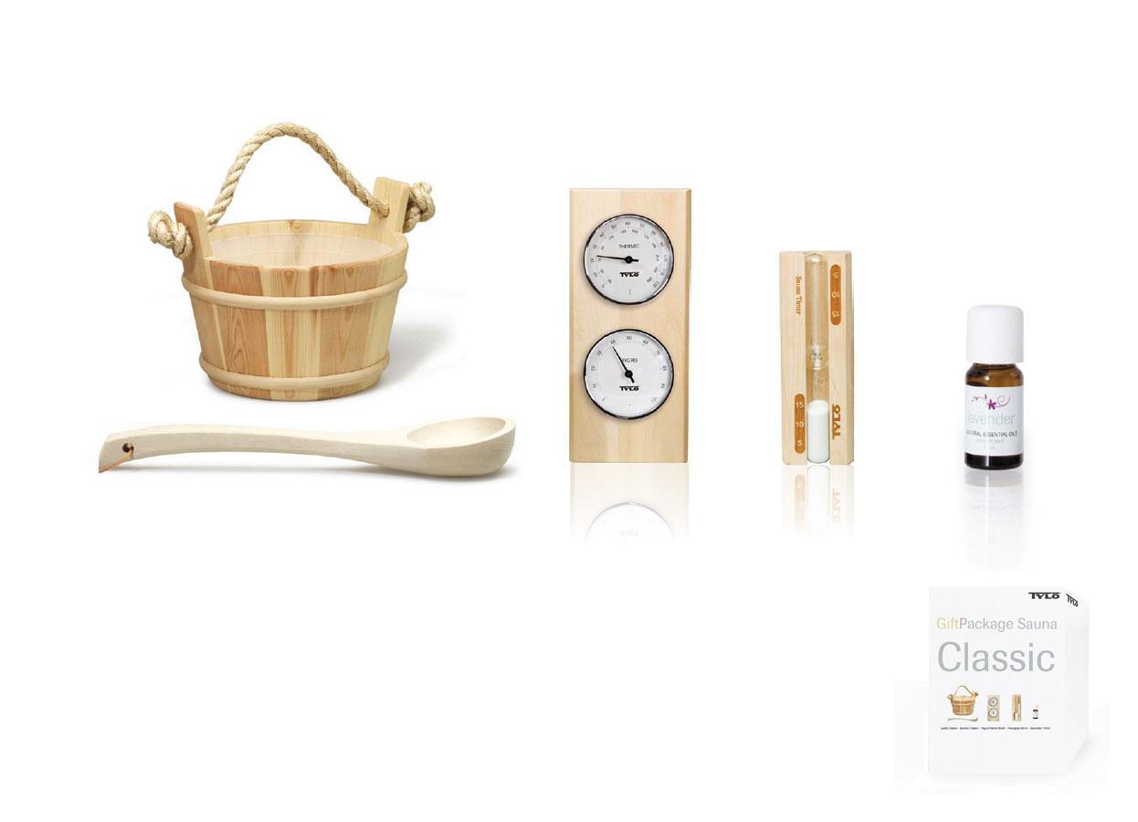 TYLO Подарочный набор классический, женский (классическая шайка, черпак, накидка, ароматизатор для сауны), артикул 90152888