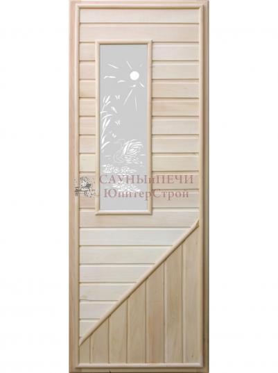 Дверь для сауны DW липа прямоугольное стекло 185х75