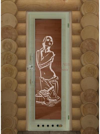 Дверь для сауны DW липа Элит прямоугольное стекло 190х70