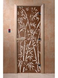 Дверь для сауны стеклянная Бамбук и бабочки (бронза) 190х70, DW