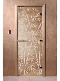Дверь для сауны стеклянная Бамбук и бабочки (прозрачное) 190х70, DW