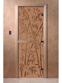 Дверь для сауны стеклянная Бамбук и бабочки (бронза матовое) 190х70, DW