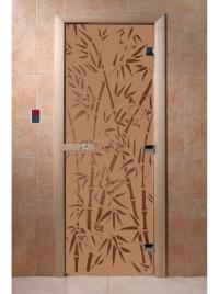 Дверь для сауны стеклянная Бамбук и бабочки (бронза матовое) 200х80, DW