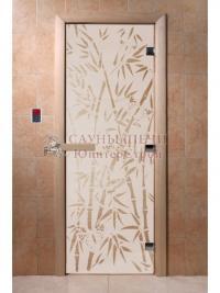 Дверь для сауны стеклянная Бамбук и бабочки (сатин) 200х80, DW