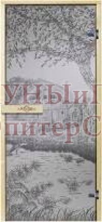Дверь для сауны стеклянная АРТ(сатин) дом у озера , правая, петли хром, 7х19, Brinolli