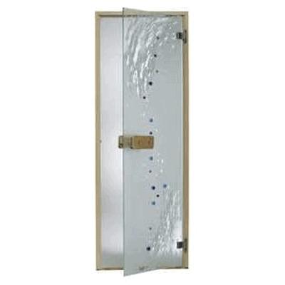 Дверь стеклянная, коробка 7х19 осина, фьюзинг, пескоструй, Девятый вал, стекло: бронза, серое, прозрачное