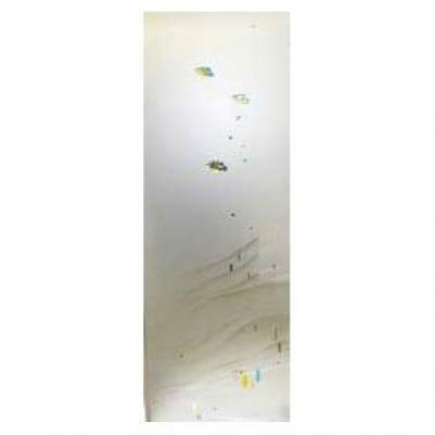 Дверь стеклянная, коробка 7х19 осина, фьюзинг, пескоструй, Атолл, стекло: сатин, матированная бронза