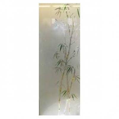 Дверь стеклянная, коробка 7х19 осина, фьюзинг, пескоструй, Бамбук, стекло: бронза, серое, прозрачное