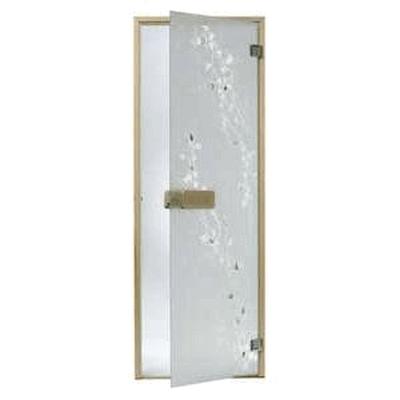 Дверь стеклянная, коробка 7х19 осина, фьюзинг, пескоструй, Береза, стекло: сатин, матированная бронза