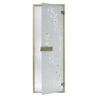Дверь стеклянная, коробка 7х19 осина, фьюзинг, пескоструй, Береза, стекло: бронза, серое, прозрачное
