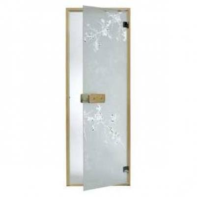 Дверь стеклянная, коробка 7х19 осина, фьюзинг, пескоструй, Дикая слива, стекло: бронза, серое, прозрачное
