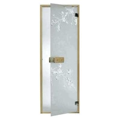 Дверь стеклянная, коробка 7х19 осина, фьюзинг, пескоструй, Дикая слива, стекло: сатин, матированная бронза