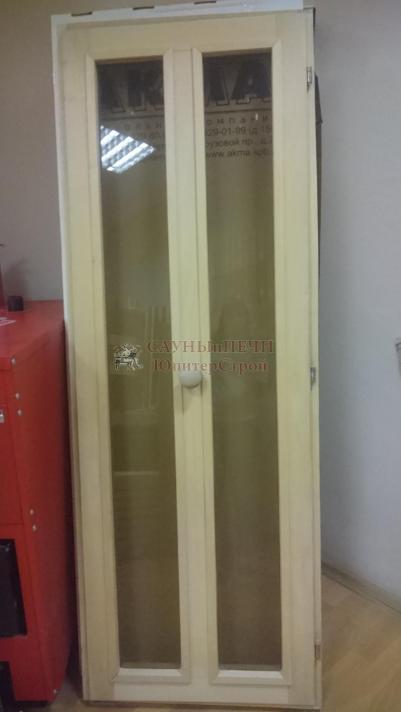 Дверь для сауны деревянная 7/19 со стеклом, липа, ручка кноб