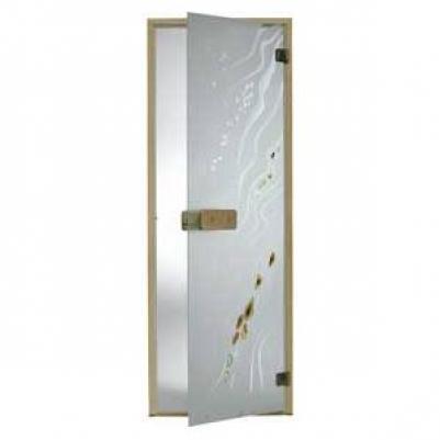 Дверь стеклянная, коробка 7х19 осина, фьюзинг, пескоструй, Галька, стекло: бронза, серое, прозрачное