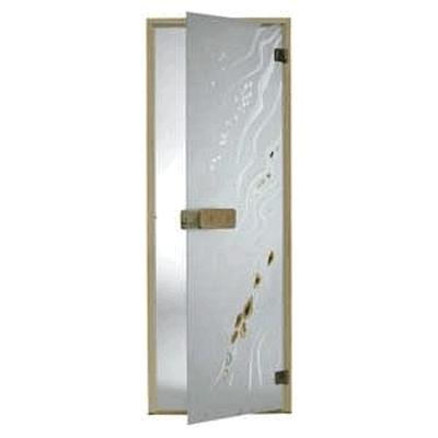Дверь стеклянная, коробка 7х19 осина, фьюзинг, пескоструй, Галька, стекло: сатин, матированная бронза