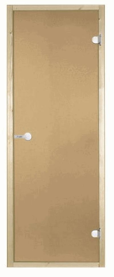 Дверь стеклянная STG 9x19 коробка осина, стекло бронза, Harvia