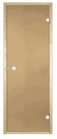 Дверь двойная стеклянная STG 13х19 коробка ольха, стекло бронза, Harvia