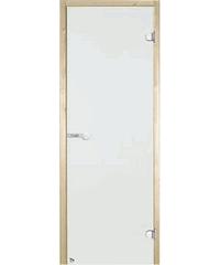 Дверь стеклянная STG 9x19 коробка осина, стекло сатин, Harvia