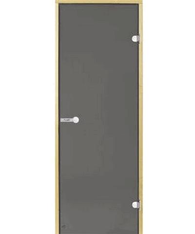Дверь стеклянная STG 9x19 коробка сосна, стекло серое, Harvia