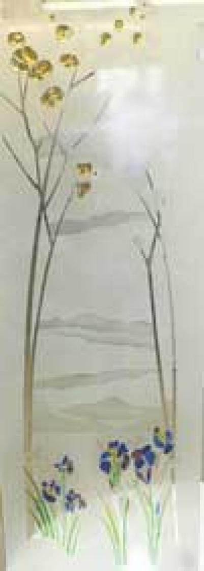 Дверь стеклянная, коробка 7х19 осина, фьюзинг, пескоструй, Ирисы, стекло: бронза, серое, прозрачное