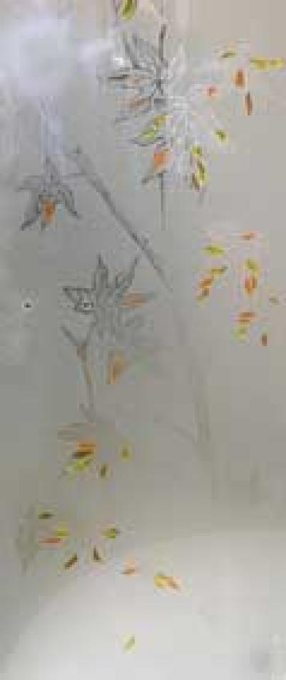 Дверь стеклянная, коробка 7х19 осина, фьюзинг, пескоструй, Клен, стекло: бронза, серое, прозрачное