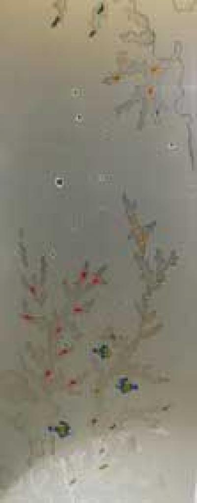 Дверь стеклянная, коробка 7х19 осина, фьюзинг, пескоструй, Коралл 1, стекло: бронза, серое, прозрачное
